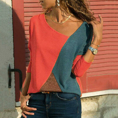 1pc Women T-shirts Long Sleeve Round Neck Patchwork Pullover Slim Fit Female Aut