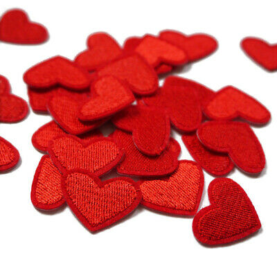 10x Red Heart Embroidery Applique Fabric Sew On Patch Badge Cloth Bag Decor DIY