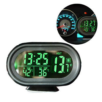 Car Auto Vehicle Digital LCD Monitor Thermometer Alarm Clock Voltage 12V-24V