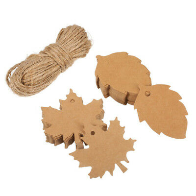 100pcs Kraft Paper Gift Tags Maple Leaf Label Luggage Christmas Blank + Strings