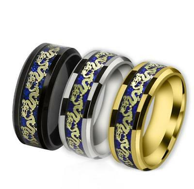 2019 Fashion Silver Celtic Dragon Stainless Steel Men's Wedding Band Rings Sale