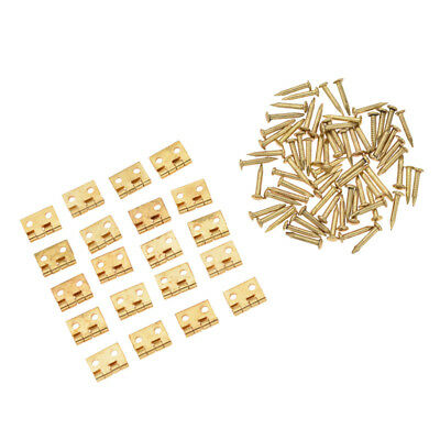20x Small Vintage Brass Hinges With Nails Jewelry Box Cabinet Door Hinges