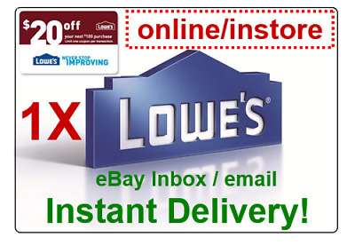 LOWES $20 OFF $100 PROMOTION DISCOUNT.1Coupon Online Code Only (fast delivery)