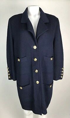 ST JOHN Marie Gray 12 Womens Blue Santana Knit Blazer Gold Button Detail Jacket