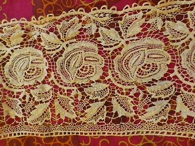 """ANTIQUE VICTORIAN LACE PIECES ROSE BUDS LEAVES - 6"""" WIDE  40""""  long"""