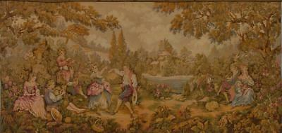 Charming Vintage French Tapestry Wall Hanging, Idyllic 18th C Country Scene