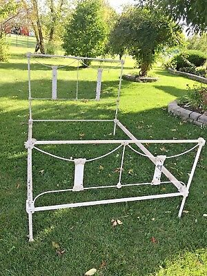 Antique French Cast Iron Metal Bed Frame w/Rails Full Size