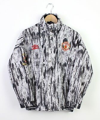 """Manchester United Vintage Retro 1992/1993 Jacket Football Jersey Zip Up - 32"""" S"""
