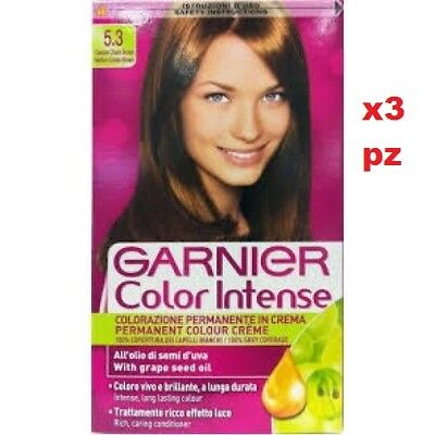 X 3 Garnier Color Intense 3.35 Castano Chiaro Tinta Per Capelli Color  Permanente 8f95d5ec410e