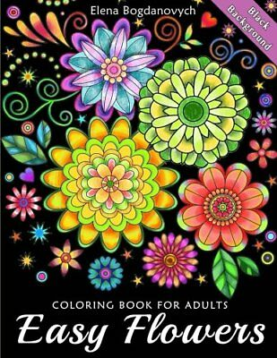 Easy Flowers Coloring Book for Adults Black Background