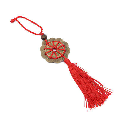 Feng Shui Lucky Red Tassel Coins Chinese Pendant For Health Wealth Decor LH