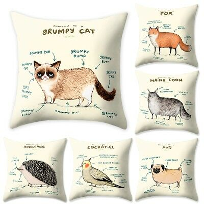 """17"""" Polyester Cushion Cover Animal Throw Peach Skin Pillow Cases Home Decoration"""