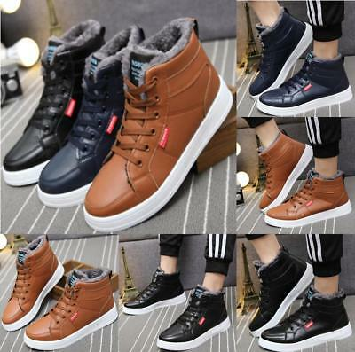 UK Mens Winter Shoes Snow Boots Fashion Outdoor Plush Thermal Fur Lined Shoes