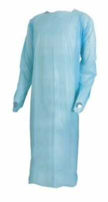 120 pack Over-the-Head Procedure Gowns. Blue Disposable Exam Gown. Large size.