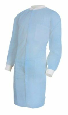 30 pack Disposable Lab Coats. Blue Polypropylene Disposable Coat for...
