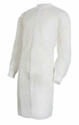 30 pack of Disposable Lab Coats. White Polypropylene Disposable Coats. S/M Size.