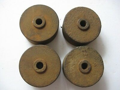 "4 Vtg Rusty 3"" Solid Iron Wheels Rollers Steampunk Industrial Metal Art Barn Fnd"