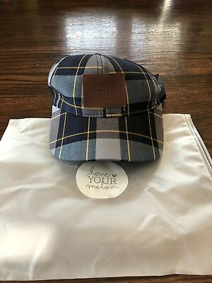 Love Your Melon LYM Navy Blue Plaid Baseball Cap with Brown leather patch da1373e78a7c