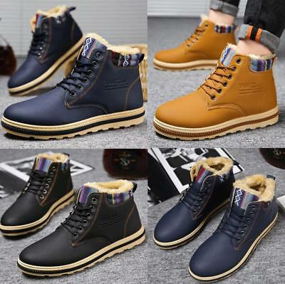 UK Mens Warm Shoes Snow Boots Fashion Outdoor Plush Thermal Fur Lined Shoes