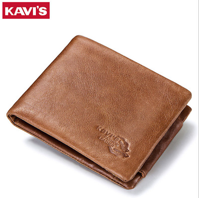 Men's Genuine Leather Cowhide Wallet Credit Card ID Trifold Holder Purse 2019