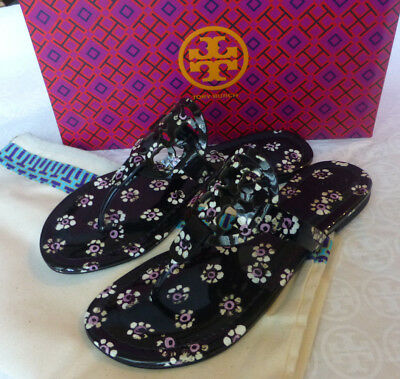 d1f3a7ffe3b61a Tory Burch MILLER Printed Patent Leather Sandal Black Stamped Floral Sz 8.5  New
