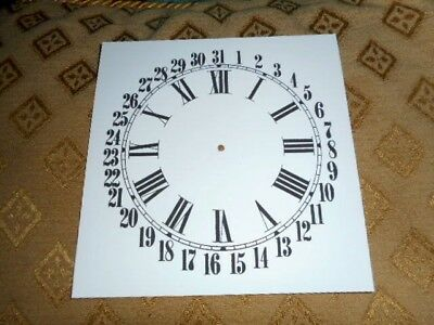 "Square Calendar Paper Clock Dial - 5"" - MATT WHITE - Face /Clock Parts/Spares"