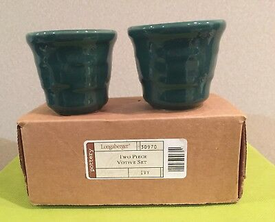 Longaberger woven traditions ivy green votive candle holders NIB Christmas