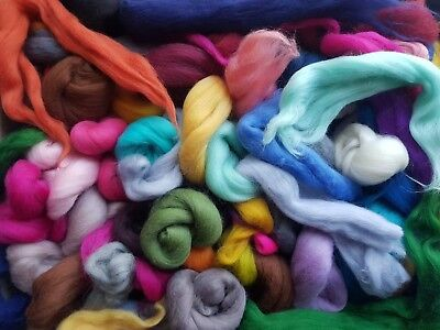 100g Merino wool offcuts Mixed wool top spinning needle felting roving fibre art