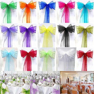 10 50 100pcs Organza Sashes Chair Cover Chair Sash Bows Wider Bow Wedding Party