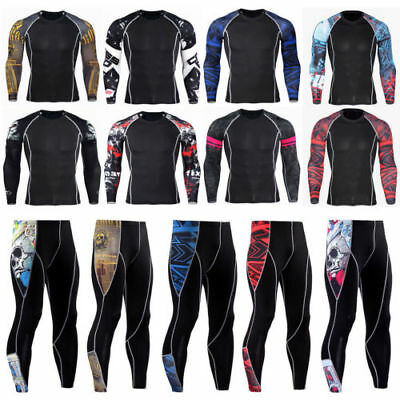 Men Compression Armour Base Layer Slim Fit Tops Shirt Gym Sport Running Trousers