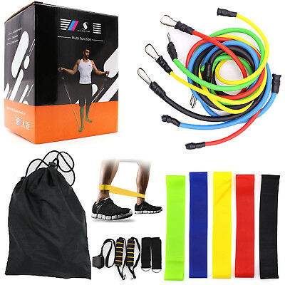 16 Piece Resistance Bands Set Workout Exercise Home Sport Crossfit Fitness Tubes