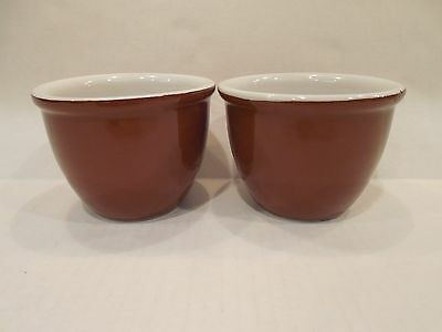 2 Shenango China Custard Bouillon Egg Cups Ramekins Crocks Brown 3 Usa