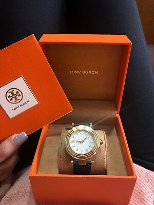 0a8037c66adc Tory Burch Women s Classic T 36mm Leather Band Steel Case Quartz Watch  TBW9001