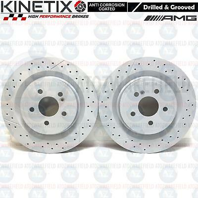 For Mercedes Cla45 Amg Rear Drilled Grooved Brake Discs 330Mm Premium Brand New
