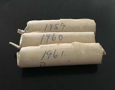 Lot of 1 1959, 1 1960, And 1 1961 Lincoln Cent Penny Roll 50