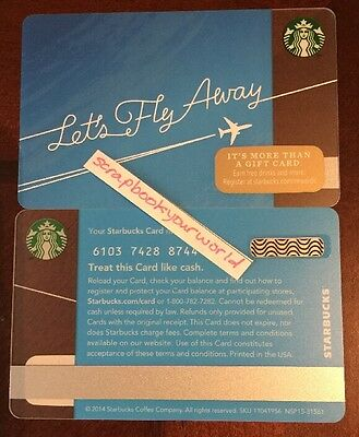 """"""" Let's Fly Away """" Travel Blue + Airplane Starbucks Gift Card"""