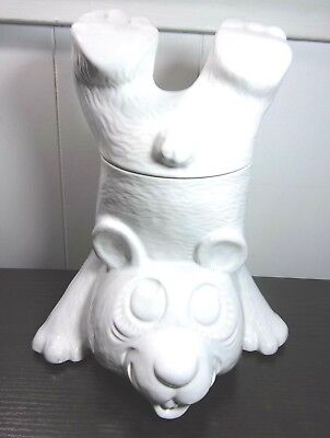 Vintage White McCoy Bear Handstand Cookie Jar Canister Storage Kitchen Decor