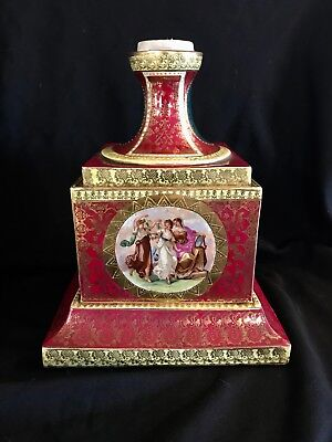 Antique Royale Vienna Large Porcelain Pedestal And Urn Base  Marked Beautiful.