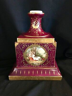 Antique Royale Vienna Large Porcelain Pedestal And Urn Base Hand Painted Marked.