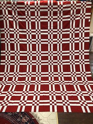 """new quilt tops unfinished 88"""" X 100"""" Red And White 100% Cotton"""