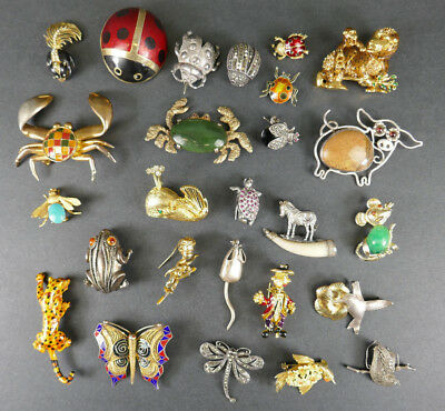 Lot Jewelry Pins Pendants Crabs Ladybugs Animals Silver & Costume Estate Find