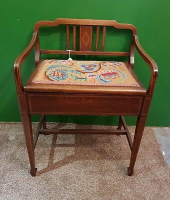 Antique Vintage Edwardian Inlaid Piano Stool with Colourful Tapestry lift top