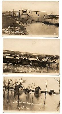 RPPC photo postcard set FLOOD IN MARMARTH, NORTH DAKOTA March 1913 town view ND