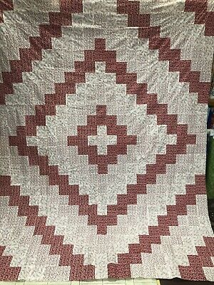 """new quilt tops unfinished Red And Whites 100% Cotton 70"""" X 90"""""""