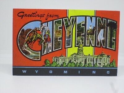 Vintage Postcard Large Letter Greetings From Cheyenne, Wyoming, E.C. Kropp