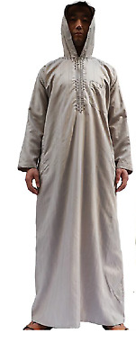 Hooded Saudi Thobe Hood Hoodie Mens Dress Gray Cream Brown Long Sleeve Zip Up