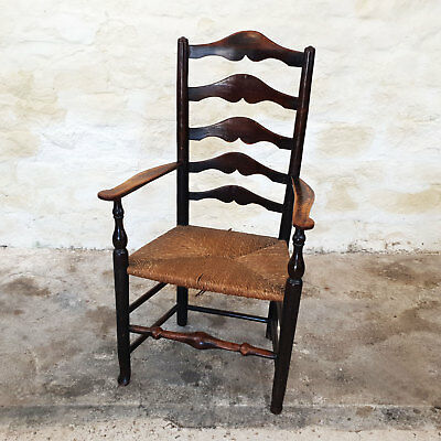 C19th Elm Oak & Ash Ladderback & Rush Seated Country Carver Armchair (Antique)