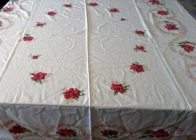 """Vintage Tablecloth 1950s Rose Print Red 52x60"""" Cotton PRETTY"""