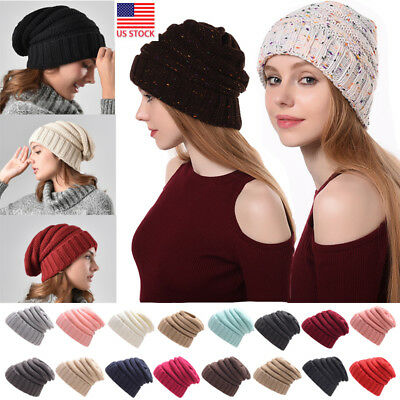 0ea29a53035 Women Knit Confetti Beanie Knit Slouchy Oversize Thick Cap Hat Slouch Color  US