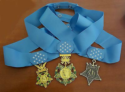 US Army - Navy - Air Force MEDAL OF HONOR and RIBBON - Full Size - Replica